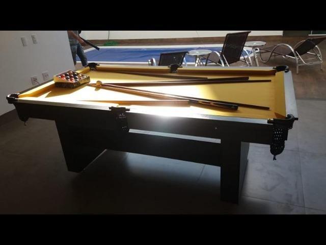 Mesa de Sinuca 2 Pés Centrais Cor Preta Tx Tecido Amarelo Modelo ECT5823 - Foto 4