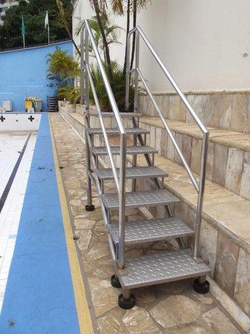 Escada Aço Inox 7 Degraus # Xadrez - Tipo Rampa Para Piscina
