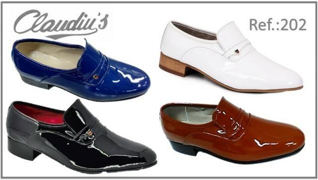 3d5151601 Sapato Social Masculino Claudiu´s - Couro Natural ou Verniz - Várias Cores  (Bico