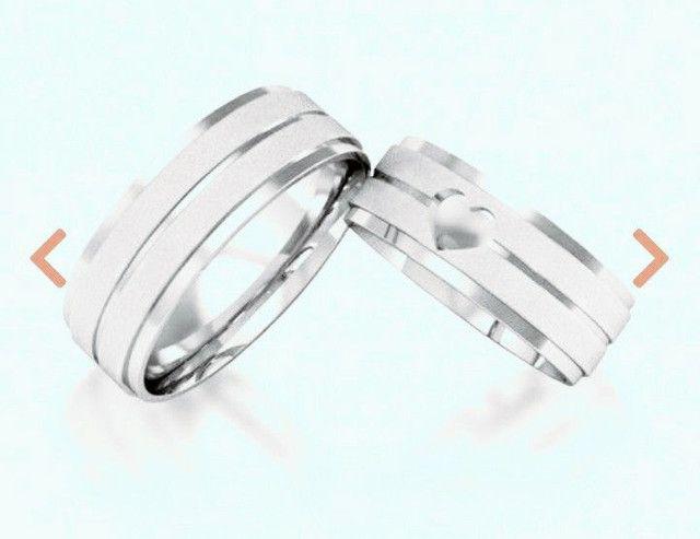 Par aliança prata coração vazado. Metal prata 950 - Foto 3
