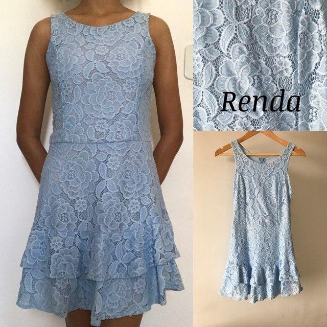 Vestido Azul Celeste de Renda Florida