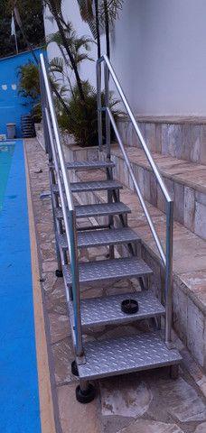 Escada Aço Inox 7 Degraus # Xadrez - Tipo Rampa Para Piscina - Foto 3