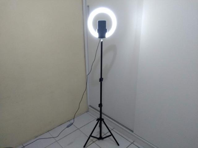 Ring Light 26cm + Tripé 1,60m + Tripé de mesa Entrega Grátis - Foto 4