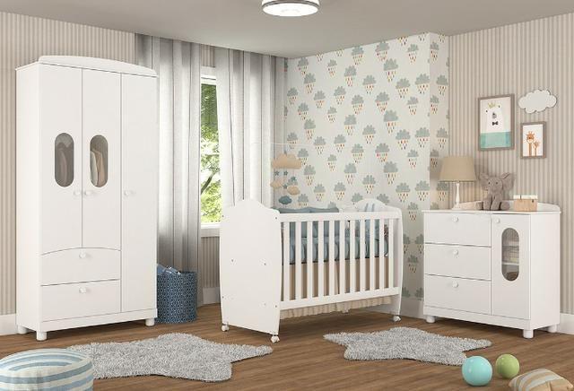 Frete Grátis* Quarto de Bebê Armário, Cômoda Fofura e Berço - Chamego *NOVO