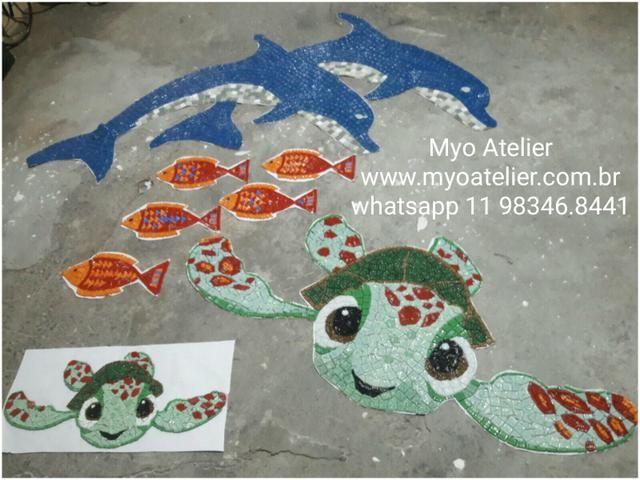 Golfinho mosaico, tartaruga mosaico, fundo de piscina - Foto 2