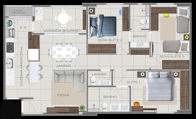 Apartamento Impecável, 3 Quartos Grandes, Sala Ampla, Lavabo e 2 Vagas - Foto 7