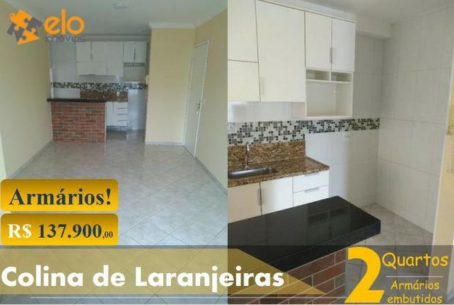 Apartamento 2 quartos em Colina de Laranjeiras com armários Embutidos.