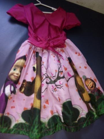 Vestido da masha usei apenas 1 vez pra festa de 2 anos - Foto 2