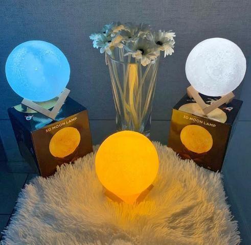 Luminária Abajur Lua Cheia 3d Touch A Maior C/ Nf E Garantia - Foto 2