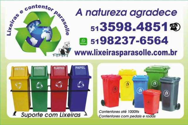 Lixeira contentor de lixo 120lts com rodas 20cm - Foto 3