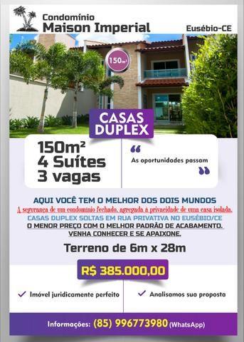 Duplex em rua privativa no Eusébio. R$ 385.000,00