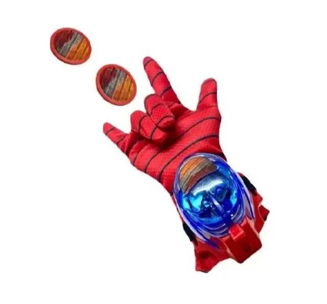 Luva Homem Aranha Lança Disco Teia Brinquedo Lançador Spider - Foto 2