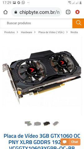 Placa de Vídeo 3GB GTX1060 OC PNY XLR8 GDDR5 192BITS<br><br>(Com Defeito)