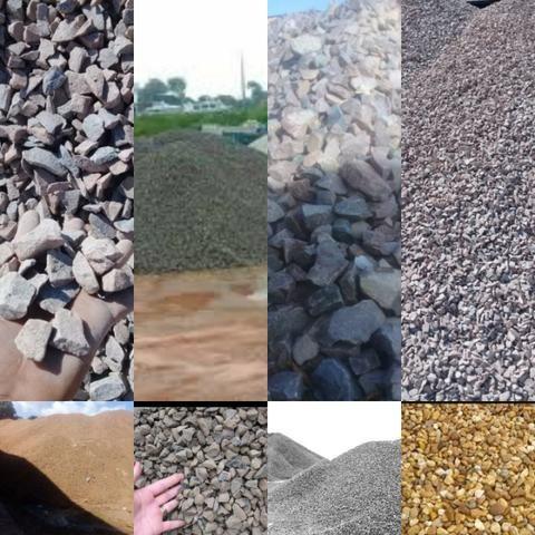 Areia seixo e tijolo cascalho e pedra rachão