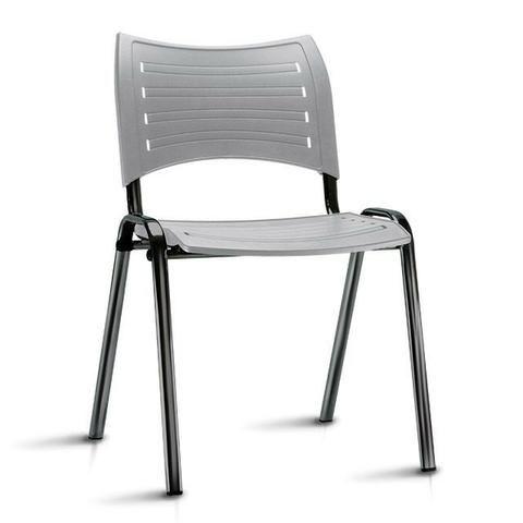 Cadeira fixa empilhável polipropileno colorido modelo Iso à vista dinheiro - Foto 3