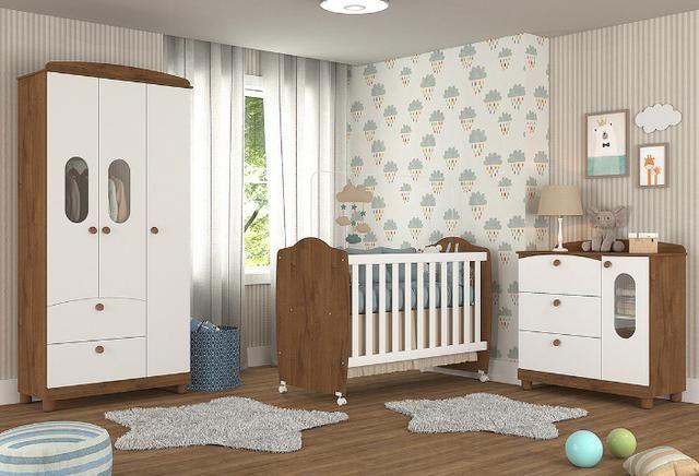 Frete Grátis* Quarto de Bebê Armário, Cômoda Fofura e Berço - Chamego *NOVO - Foto 2