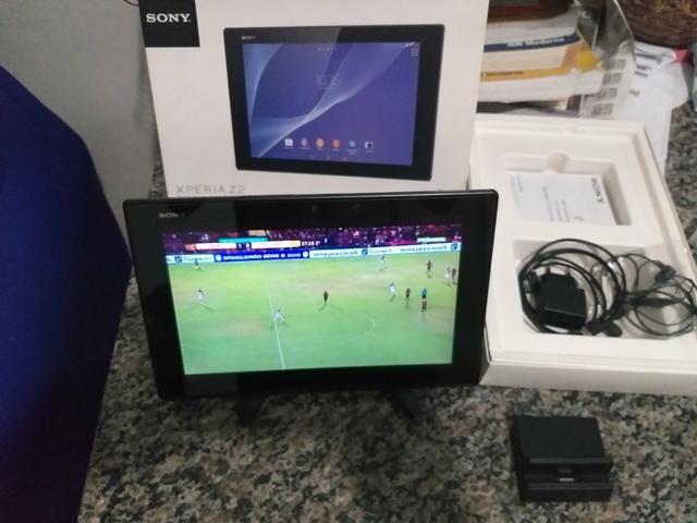 Tablet sony z2, faz ligação como celular aprova de água, carregador magnético, na caixa - Foto 2