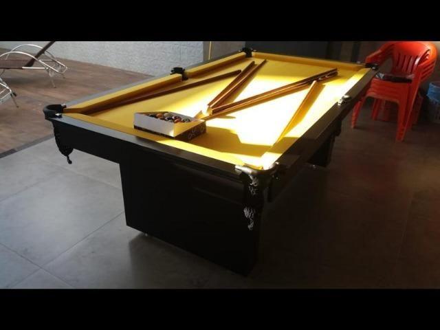 Mesa de Sinuca 2 Pés Centrais Cor Preta Tx Tecido Amarelo Modelo ECT5823 - Foto 3