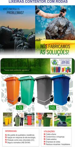 Lixeira contentor de lixo 120lts com rodas 20cm - Foto 2