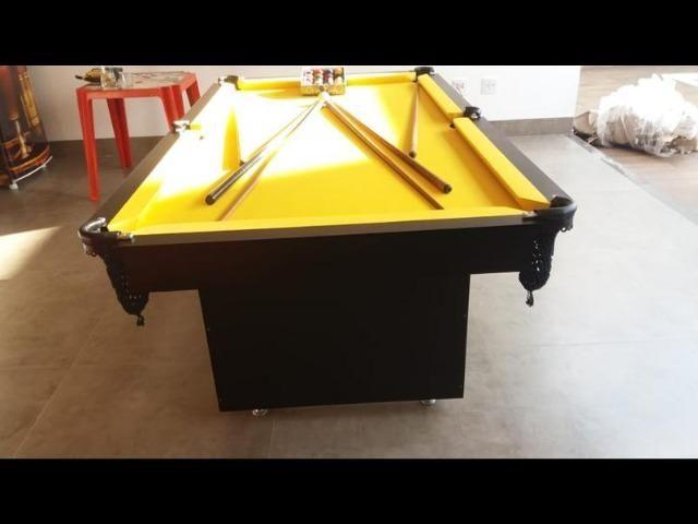Mesa de Sinuca 2 Pés Centrais Cor Preta Tx Tecido Amarelo Modelo ECT5823 - Foto 2