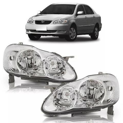 Par Farol Cromado Toyota Corolla 2003 2004 05 2006 2007 2008