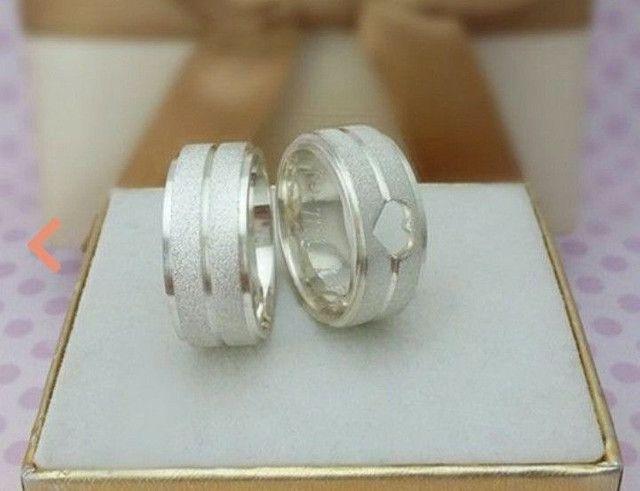 Par aliança prata coração vazado. Metal prata 950 - Foto 4