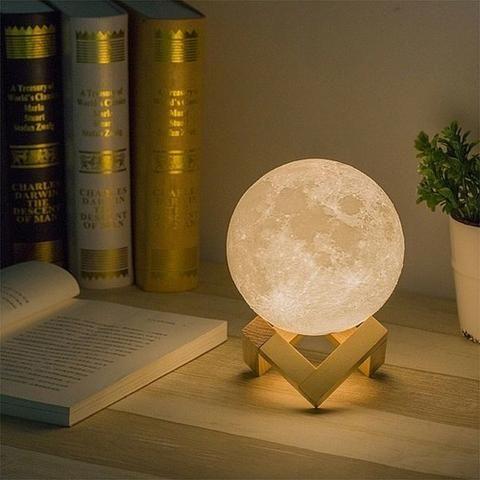 Mini Luminária Lua Cheia 3d 15 Cm Usb Colorida - Foto 3