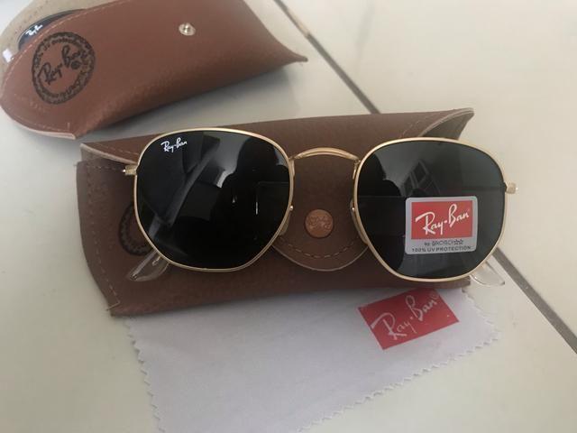 3b8eee5c4 PREÇO IMPERDÍVEL! Óculos de Sol Ray Ban Hexagonal! 100% Proteção UV400!  Aceito cartão!