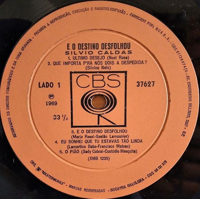 Lp Silvio Caldas E O Deztino Desfolhou 1969 disco vinil - Foto 6