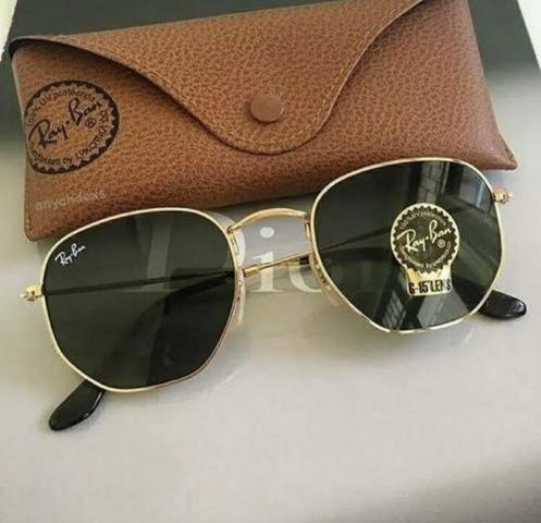 ec07e02c27783 PREÇO IMPERDÍVEL! Óculos de Sol Ray Ban Hexagonal! 100% Proteção UV400! Aceito  cartão!