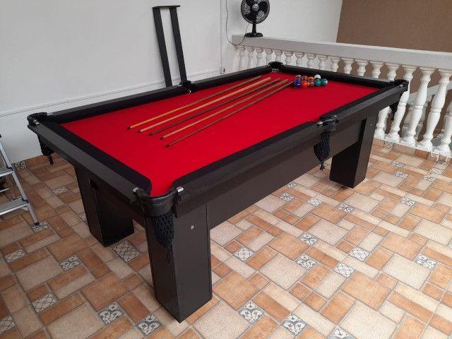 Mesa de Bilhar Charme Preta Tx Tecido Vermelho Modelo WEF0215 - Foto 2