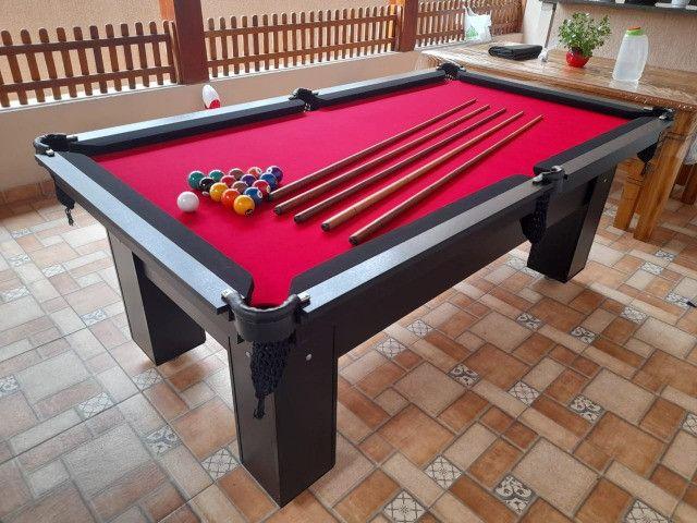 Mesa de Bilhar Charme Preta Tx Tecido Vermelho Modelo WEF0215 - Foto 3