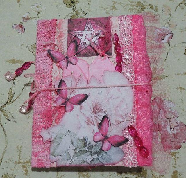 Grimório Artesanal Rosa Vintage Estilo Junk Journal