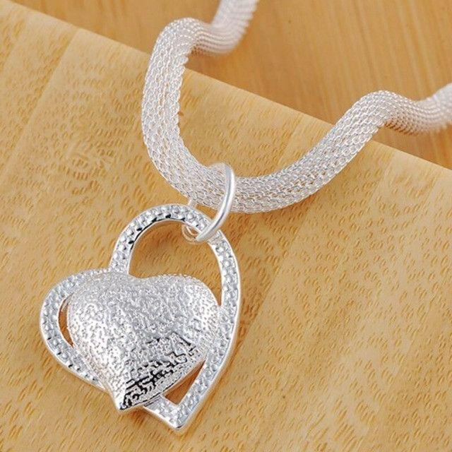 Colar com pingente Duplo de coração folheado em Prata - Foto 2