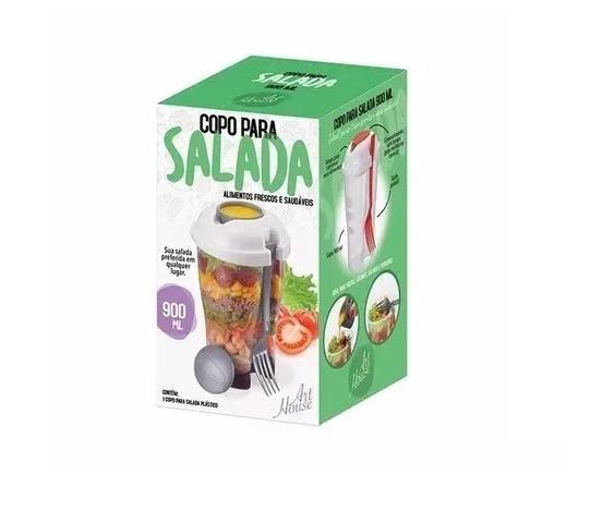 Copo Para Salada Com Garfo E Reservatório Para Molho 900ml