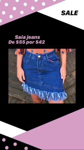 Saia jeans assimétrica - Foto 2