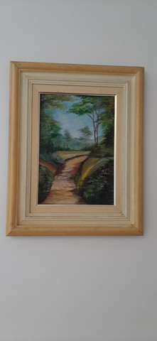 Lindo quadro pintado a mão, com moldura