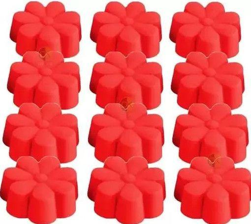Kit 12 forminhas mini forma silicone florzinha 6,5cm-unyhome.