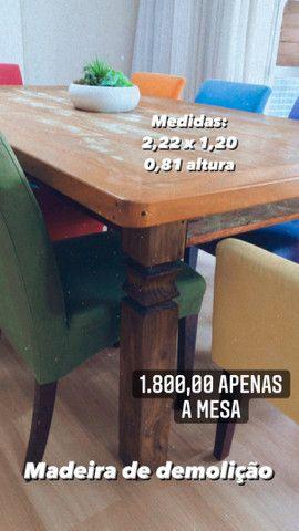 Mesa de madeira de demolição  - Foto 2