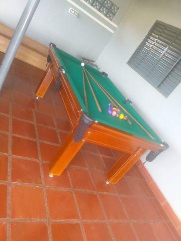 Mesa Tentação MDF Cor Imbuia Tecido Verde Mod. YHBE4399 - Foto 3