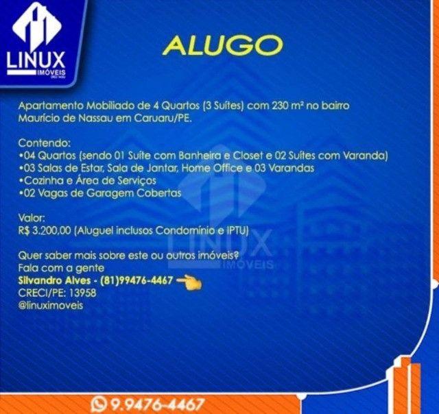 Alugo Apartamento mobiliado de 04 quartos (03 suítes), em Caruaru/PE - Foto 17