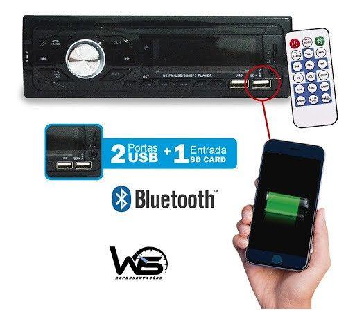 Auto Rádio Honesty Tp-7202bt Usb E Bluetooth Com 2 Entadas