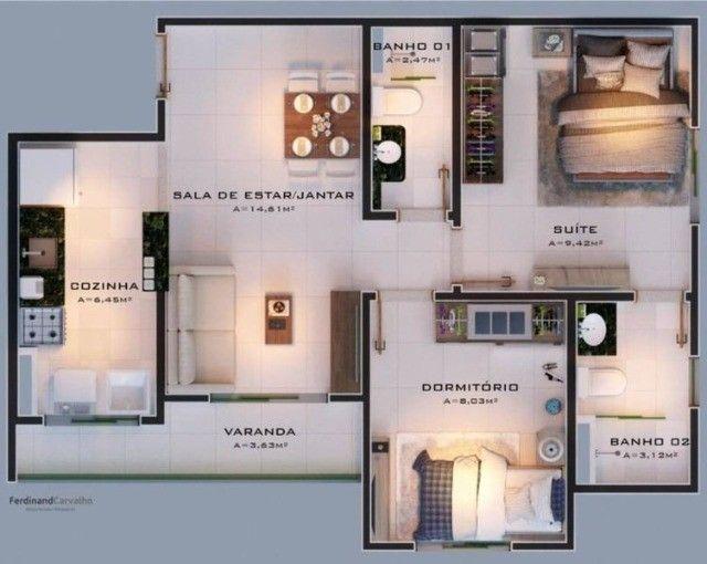 136 Condomínio Fit One. Apartamentos de 55m² no porcelanato na região do Turu - Foto 6
