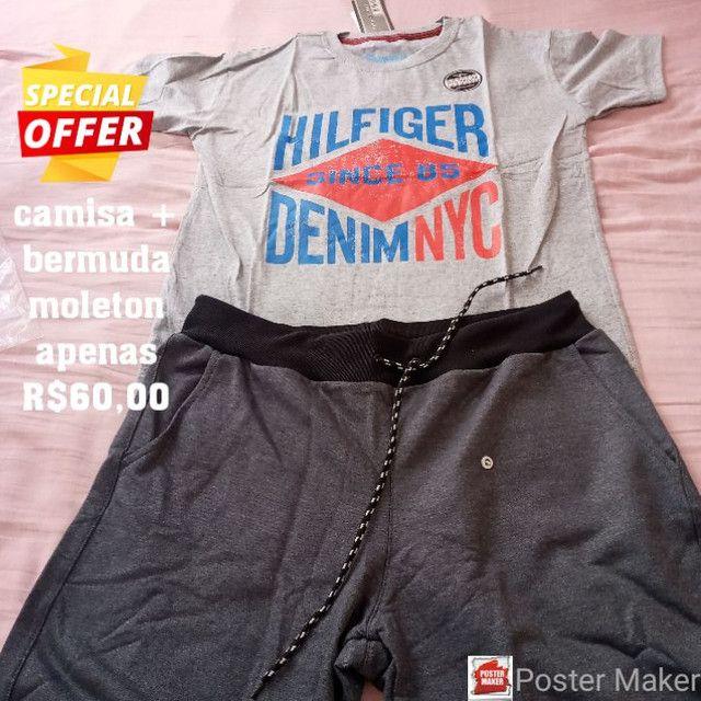 Camisas + bermuda moleton preço baixo  - Foto 2