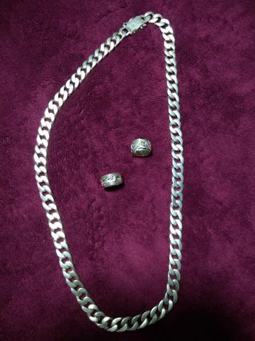 Corrente de prata 925 é 2 anéis - Foto 3