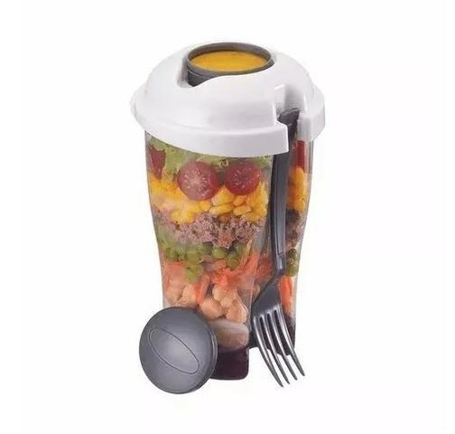 Copo Para Salada Com Garfo E Reservatório Para Molho 900ml - Foto 2