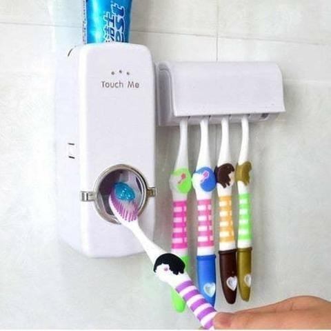 Suporte de escova com dispenser de creme dental - Foto 2