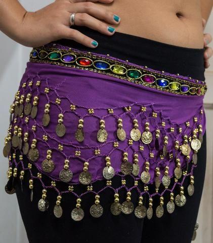 e4eb4ff18 Lenço De Quadril Para Dança Do Ventre Roxo - Bijouterias