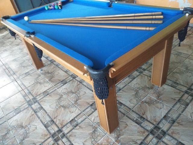 Mesa Tentação 1,93 x 1,18 Cor Cerejeira Tecido Azul Mod. HPGA6151 - Foto 3