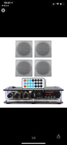 Kit Som Ambiente amplificador Bluetooth + 4 arandelas de embutir - Foto 3